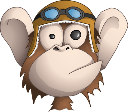 a cartoon monkey in a flight hat